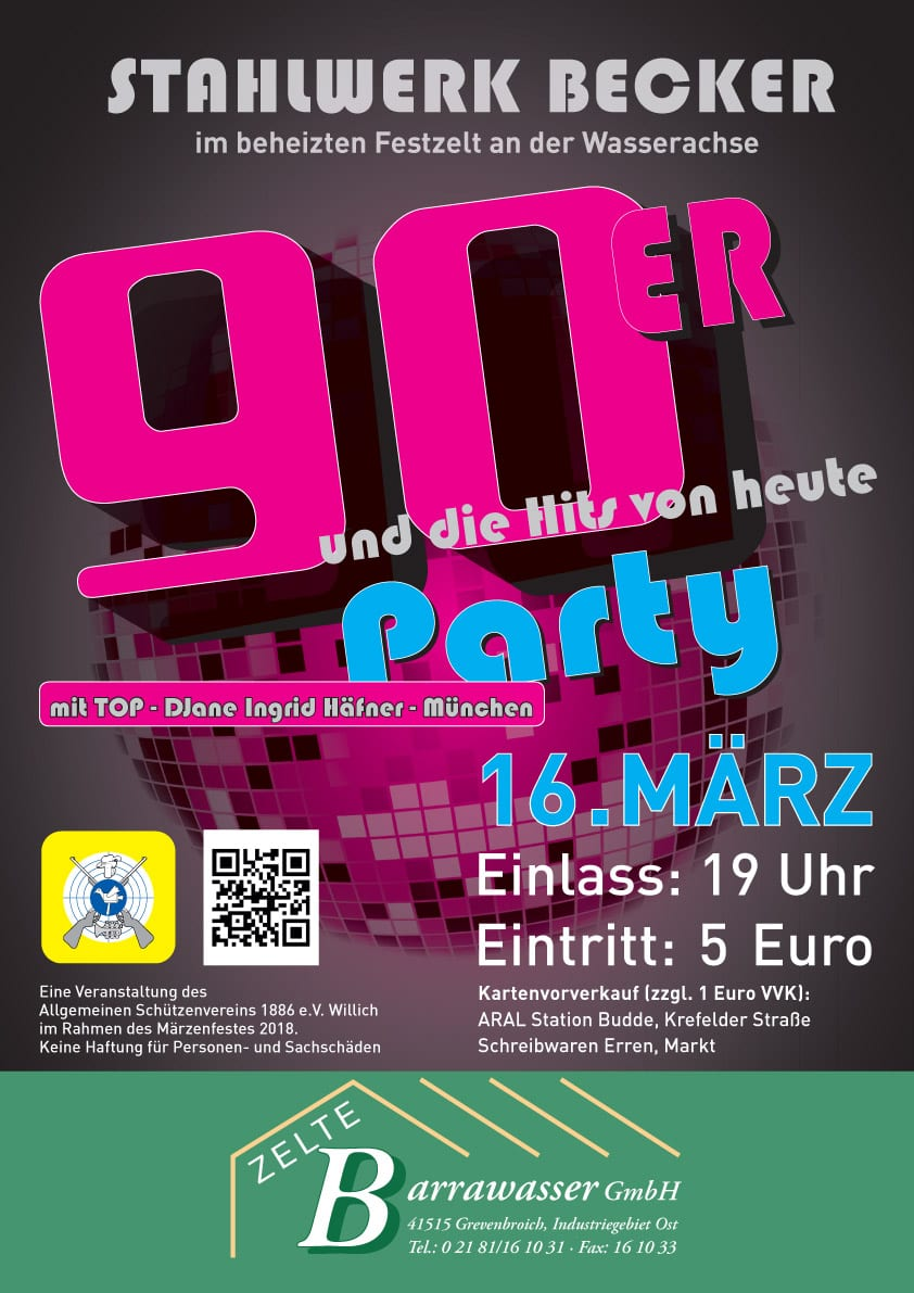 Karten für 90er Jahre Party sichern | Allgemeiner Schützenverein ...
